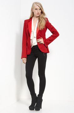 Rachel Zoe  Single Breasted Wool Jacket  Ruby  $425