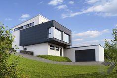 Dieses und viele Häuser mehr gibt es auf Fertighaus.de – Ihr Hausbau aus einer Hand: Schnell, preiswert und von geprüften Anbietern. Modern House Design, Style At Home, Architecture, My House, Facade, Beautiful Homes, Interior Design, House Styles, Outdoor Decor
