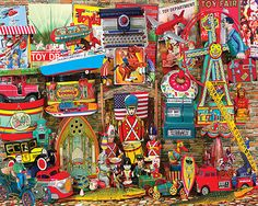 """Antique Toys"" ~ a 1000 piece jigsaw puzzle by White Mountain Puzzles. Retro Toys, Vintage Toys, Vintage Modern, Vintage Stuff, Puzzle Shop, Puzzle Art, Carnival Rides, Alice, Cartoon Art Styles"