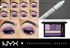 """Δημιουργήστε το τέλειο μωβ smokey eye χρησιμοποιώντας το Jumbo Eye Pencil στην απόχρωση Milk(JEP604) ως βάση και την παλέτα σκιών Love In Florence στην απόχρωση """"ΧΟXO, Mona""""(LIF03)."""