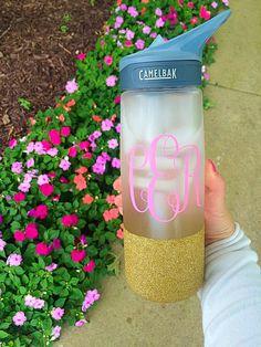 Monogram Glitter Camelbak Water Bottle
