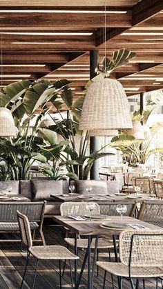 Ibiza : 3 hôtels canons où se réfugier sur l'île espagnole Outdoor Restaurant Design, Decoration Restaurant, Deco Restaurant, Restaurant Concept, Modern Restaurant, Restaurant Interior Design, Cafe Interior, Interior And Exterior, Design Café