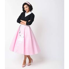 1950s Style Pink High Waist Classic Poodle Circle Skirt ($51) ❤ liked on Polyvore featuring skirts, pink, pink high waisted skirt, pull on skirts, pink knee length skirt, pink circle skirt and high waisted skirts
