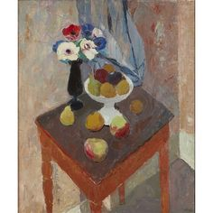 Sir William George Gillies - Anenomes and Fruit; Medium: oil on canvas; Dimensions: 91 X 76 cm. Still Life, Oil On Canvas, Fruit, Illustration, Artwork, Flowers, June, Paintings, Interiors
