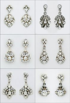 Trend Alert! Small Bridal Chandelier Earrings. Glamorous & stylish yet not overdone. Crystal & Pearl bridal earrings by Erin Cole, Cheryl King Couture & Ben Amun.