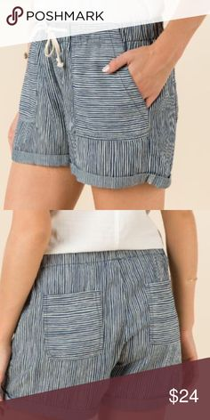 Cute Striped Cuffed Short Super soft striped cuffed chambray short. Lyocell. Francesca's Collections Shorts