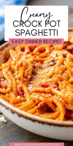 Crock Pot Spaghetti is an easy family friend dinner, plus it makes a great potluck recipe because it makes so much! Creamy spaghetti sauce with Italian Sausage and pasta. Plus, the leftovers so delicious and perfect for lunches through the week! Best Crockpot Recipes, Crockpot Dishes, Potluck Recipes, Easy Dinner Recipes, Slow Cooker Recipes, Beef Recipes, Easy Meals, Cooking Recipes, Crockpot Meals
