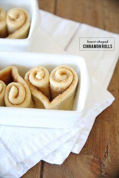 valentine // heart shaped cinnamon rolls