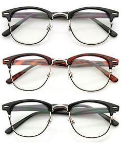 80' S Vintage Clubsman Horned RIM Half Frame Clear Poly Carbon Lens Glasses | eBay