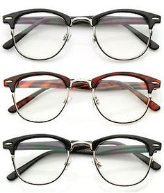 e1420b324b8 80  S Vintage Clubsman Horned RIM Half Frame Clear Poly Carbon Lens Glasses