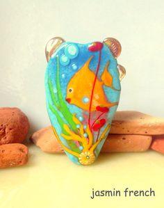 jasmin french ' MERMAID garden ' lampwork focal bead ooak
