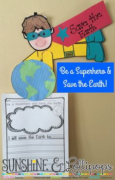 """Are you looking for a fun craft and writing activity for Earth Day or an Earth Day Bulletin Board? Customers have shared that this """"Be a Superhero and Save the Earth"""" resource, which includes differentiated writing frames make a great bulletin Board Board. Children make themselves as this adorable superhero and write what they will do to save the earth. YOU NEED to click through and get this to compliment your Earth Day activities and lessons! It can be adapted for K-2."""