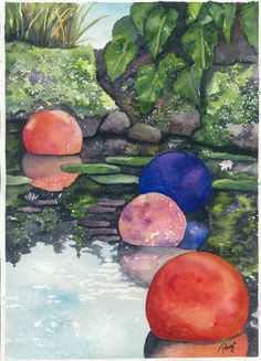 Glass globe watercolor https://www.etsy.com/listing/202301366/watercolor-print-pond-with-glass-globes