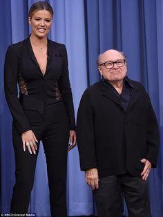 Mocked: Khloe Kardashian joked she was like Arnold Schwarzenegger in Twins when she stood next to the comedy star last week on The Tonight Show