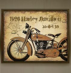 Vintage 1926 Harley Davidson Motorcycle art print with map of Sturgis artistically added to background.Great gift for motorcycle enthusiasts