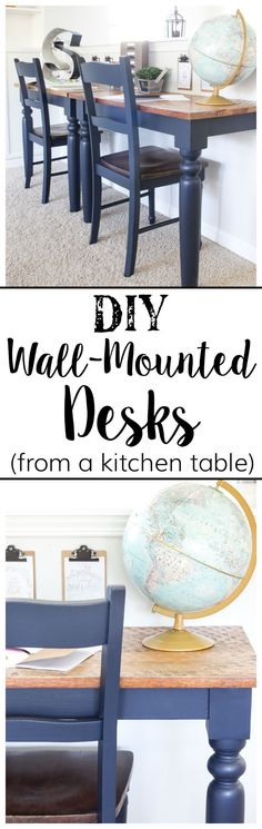 Repurposed Kitchen Table Turned Wall-Mounted Desks   http://blesserhouse.com - How to use a repurposed kitchen table to cut in half and make wall-mounted desks for a playroom makeover with Fusion Mineral Paint Midnight Blue. #sponsored popular pin