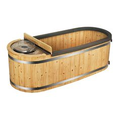 This Two-Person Natural Pine Hot Tub with a Charcoal Stove is beautiful, multipurpose and will transform any backyard into a relaxing escape. The visually aesthetic pine hot tub features a natural wood finish that seamlessly blends into existing . Outdoor Tub, Outdoor Spaces, Rustic Outdoor, Outdoor Fire, Outdoor Showers, Outdoor Retreat, Outdoor Decor, Hot Tub Cover, Drinks Tray