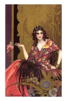 Victorian Woman with Flowered Shawl and Rose Premium Poster