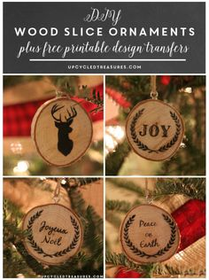 Take a look at how to make your own DIY wood slice Christmas ornaments! Plus FREE Printables to use for easy image transfer! UpcycledTreasures.com