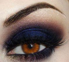 dark smoky eye makeup inspiration for brown eyes using indigo + black eyeshadow Love Makeup, Makeup Tips, Makeup Looks, Hair Makeup, Makeup Ideas, Navy Eye Makeup, Navy Blue Dress Makeup, Sultry Makeup, Purple Makeup