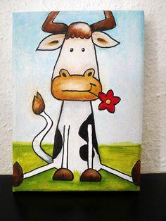 Acrylmalerei - Eine Kuh macht muh...... - ein Designerstück von FarbARTist bei… Designer, Etsy, Cow