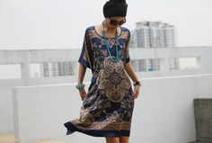 Silk Short Dress in Navy Blue - Boho Gypsie Kaftan - Satin Bohemian Wear - Maternity Wear on Etsy, $29.99