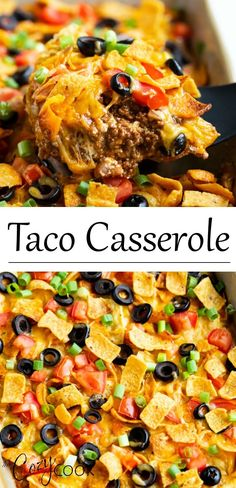 This taco casserole is easy to make ahead of time and bake later! it s loaded with juicy ground beef and your favorite mexican toppings for a perfect weeknight dinner! doritos fritos recipe mexicanrecipes dinnerideas familydinner canned chicken salad Ground Beef Recipes For Dinner, Dinner With Ground Beef, Easy Dinner Recipes, Easy Meals, Taco Ideas For Dinner, Ground Beef Crockpot Recipes, Taco Dinner, Easy Ground Beef Meals, Ground Chuck Recipes Dinners