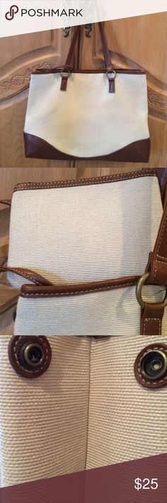 """Coldwater Creek Cream Canvas Tote Cream tote with brown trim and coin purse. Large snaps on each side at top. 15"""" length at base, 10"""" height, 6"""" wide. Coin purse 6"""" length, 4 1/2"""" height. Beautiful. Used a few times. Coldwater Creek Bags Totes"""