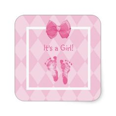 Cute 'It's a girl' birth announcement stickers with a trendy pink argyle pattern background, embellished with sweet little baby footprints and a girly pink ribbon tied into a bow. Replace customizable text with your new baby girl's name and affix to your baby shower invites.