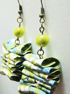 """Boucles d'oreilles tissu japonais cerisiers """"Thé vert"""" - Collection…"""