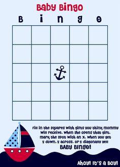 Baby Bingo Nautical Theme Baby Shower Game Cards