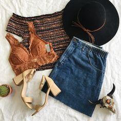 Summer • spring • festival outfit • denim skirt • bralette • flatlay • flat lay • boho • inspiration • Steve Madden • felt hat • trends