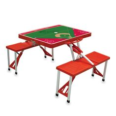The Philadelphia Phillies Portable Picnic Table with folding bench seats for four and baseball graphics