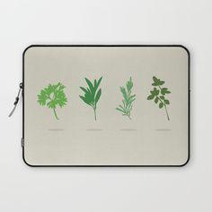 Scarborough Fair Laptop Sleeve - Minimalist, silhouette, herbs, green, Simon and Garfunkel, Paul Simon, lyrics, fan art, parsley, sage, rosemary, thyme, art, design, illustration, vector