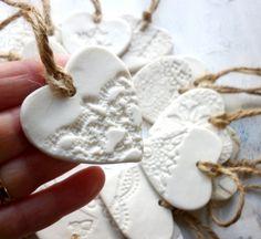 A Set Of 4 Handmade Porcelain Heart por KarenTurnerCeramics en Etsy