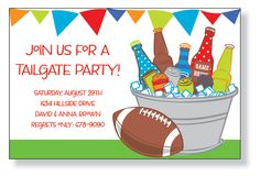 Everyone will want to join your tailgate party after receiving this flat invitation featuring a colorful banner at the top and a bucket of beer on ice to the right with a football sitting next to it.