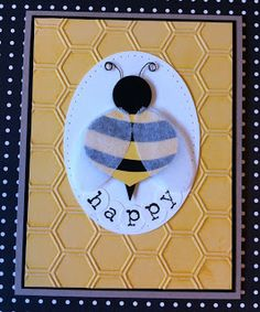 Inky Moose: Bee Happy  nice combination of punch art bee with Honeycomb embossing folder   Like the punched out letters, pierced edge and matching inside of card, too.