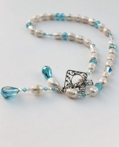 Freshwater pearl necklace with Swarovski crystals by KCDesignsshop, $68.80