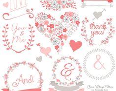 Premium Floral Clip Art & Vectors - Coral Wedding Clip Art, Wedding Clipart, Love Clipart, Vintage Flowers, Hand Drawn Flowers