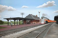 The Milwaukee Road Hiawatha - Pewaukee, WI (acrylic by Bruce Friesch) Pewaukee Lake, Milwaukee Road, Train Art, Train Stations, Round House, Us Travel, Old Photos, Offices, Wisconsin