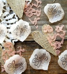 [gallery] Love Is In the Air here at Burlap & Bling Design Studio! Looking for rose petals to complete your collection of DIY wedding decorations? Bling Bridal Showers, Burlap Bridal Showers, Bridal Shower Rustic, Rustic Wedding Decorations, Shabby Chic Wedding Decor, Table Decorations, Table Centerpieces, Centrepieces, Vintage Wedding Cake Table
