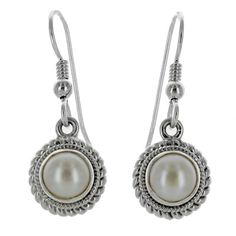 Pearl Earrings: Sterling Silver Pearl Rope Coil Dangle Earrings - Fire and Ice