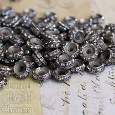 Aged Silver Czech Crystal Rhinestone Rondelle Spacer Beads - 13mm x 6mm - Vintage Shabby Style - 10pcs