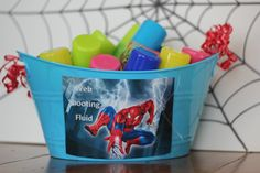 Spiderman birthday - silly string & Pin the Spiderman on the web games