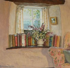A little corner in my cottage to read the day away...'The Inglenook Window' by contemporary English Impressionist Stephen Darbishire (1940).