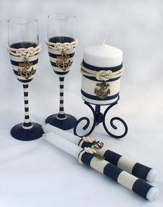Бокалы для свадебного шампанского. Очаг, свечи для родителей
