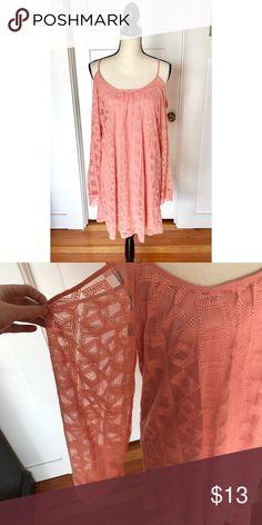 NWOT Lace Cold Shoulder Dress NWOT Pink Lace cold shoulder dress with crochet detailing on sleeves. Never worn! Xhilaration Dresses