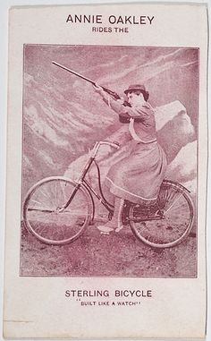 Unusual photo advertising card of Annie Oakley shooting while sitting upon a Sterling Bicycle. Outlaw Women, Annie Get Your Gun, Annie Oakley, American Frontier, Hippie Fashion, History Photos, Fabricant, Bicycling, Old Paper