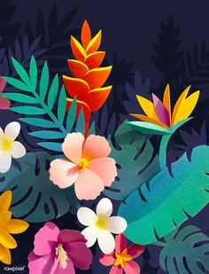 Download premium image of Tropical botanic paper craft handmade collection by Minty about art, background, botanic, craft and creative 261591 Cardboard Box Crafts, Easy Paper Crafts, Arts And Crafts, Diy Crafts, Tropical Leaves, Tropical Flowers, Nashville Art, Paper Quilling Designs, Art Background