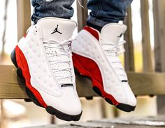 Air Jordan 13 Retro OG 'White Red' All Nike Shoes, Hype Shoes, Nike Shoes Outlet, Zapatillas Nike Basketball, Zapatillas Nike Jordan, Sneakers Box, Best Sneakers, Sneakers Nike, Cool Jordans